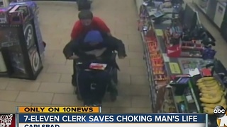 7-Eleven clerk saves choking man's life - Video
