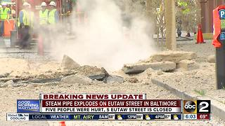 Steam pipe explodes on Eutaw Street in Baltimore - Video