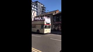 Sunday League football team stage their own open top bus celebration - Video