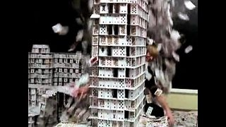 World's Largest Card Stack...Falls Over - Video