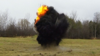 Awesome close-up view of C4 explosion - Video