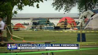 Hundreds camp out ahead of Veterans Park fireworks - Video