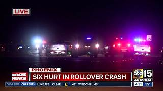 Fire officials: 6 hurt in north Phoenix vehicle rollover - Video