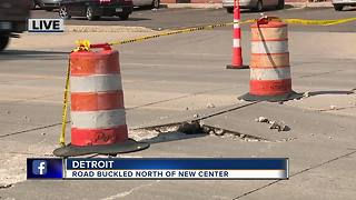 Woodward Avenue buckled near New Center Area - Video