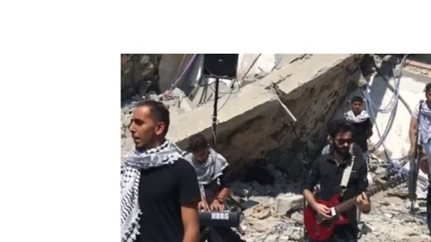 Palestinian Musicians Perform in the Rubble of Building Destroyed by Israeli Strikes