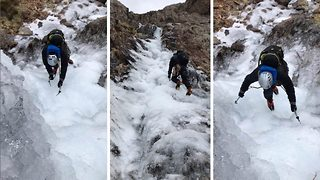 Incredible footage shows climber making his way up frozen waterfall on Snowdon