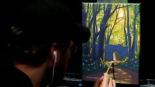 Acrylic Landscape Painting of a Forest Path - Time Lapse - Artist Timothy Stanford