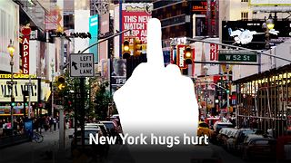 Lean mean NYC: Free hug leads to black eye - Video
