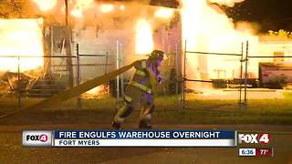 Raging fire destroys Fort Myers warehouse - Video