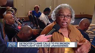 Detroiter claims calls to fix broken streetlight have gone unanswered - Video