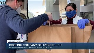 Roofing company helps deliver lunch donations