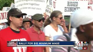Workers, union leaders rally in KC for $15 minimum wage - Video