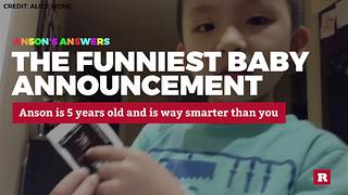Anson Wong, boy genius, in the funniest baby announcement ever - Video