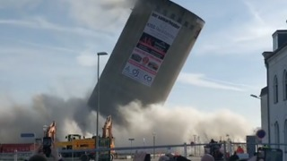 Silo Falls Wrong Way During Demolition, Damaging Library - Video