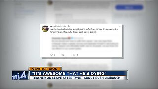 'It's awesome that he's dying:' Teacher on leave after tweet about Rush Limbaugh