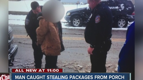 Man catches thief stealing packages from neighbor's front porch