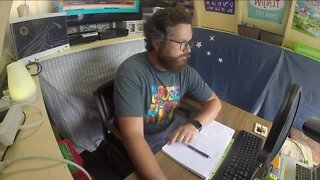 Creative teacher converts old shed into remote learning classroom