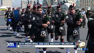 9/11 memorial on USS Midway Museum - Video