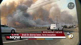 Brush fire destroys Anaheim homes, forces evacuations - Video