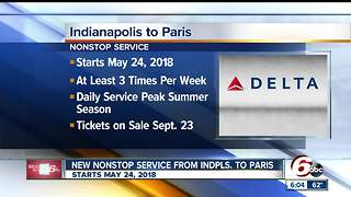 Delta to offer nonstop flight from Indianapolis to Paris starting in 2018 - Video