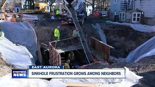 Sinkhole frustration grows among neighbors in East Aurora - Video