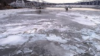 Drone Footage Shows Connecticut River Ice Jam in East Haddam - Video