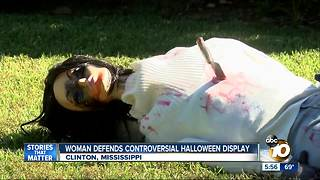 Mississippi women defends controversial Halloween display - Video