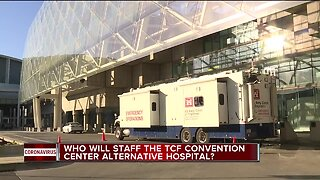 Who will staff TCF Convention Center alternative hospital?