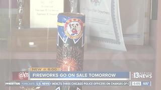 Legal fireworks go on sale tomorrow