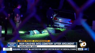 Driver crashes through cemetery after argument with ex-girlfriend