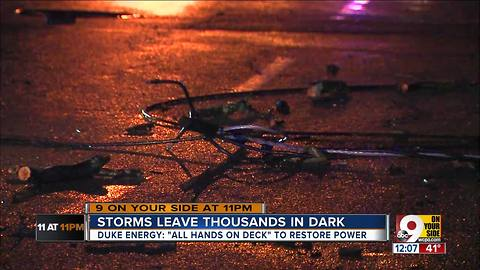 Duke crews to work through the night in an effort to restore power