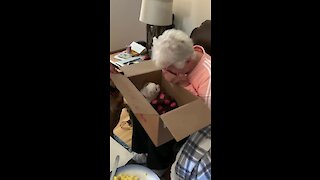Grandma brought to instant tears when surprised with new puppy