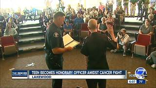 13-year-old boy diagnosed with cancer sworn in as honorary Lakewood Police officer - Video