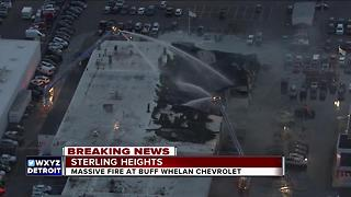Large fire destroys part of Buff Whelan Chevrolet in Sterling Heights - Video