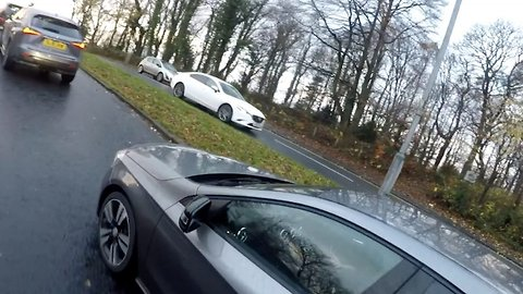 Boneheaded motorist says he can drive 'safely' while using his phone moments before crashing into car in front