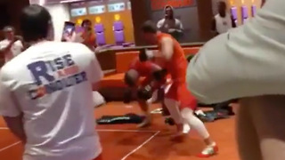 Clemson Teammates BRAWL in Locker Room Fight Club! - Video