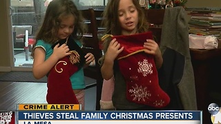Thieves steal family Christmas presents - Video
