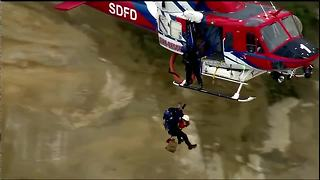 Woman with broken leg rescued from Blacks Beach - Video