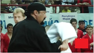 Steven Seagal Shows His Moves As He Defeats Two Sambo Practitioners - Video