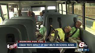 School bus simulation crash shows importance of seat belt safety - Video
