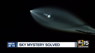 Mysterious light over night sky identified as SpaceX rocket