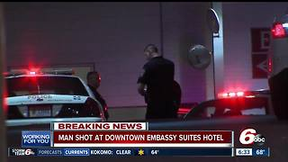 Person shot inside downtown Indy hotel - Video