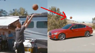 Steph Curry DRAINS 3-Point Shot into the Sunroof of an Infiniti - Video