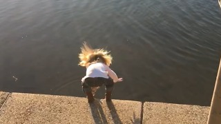 Little Girl Falls In A Pond Trying To Feed Ducks