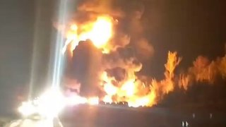 Deadly 14-Vehicle Crash on Ontario Highway Sends Flames Shooting Into the Air - Video
