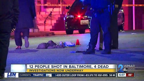 12 shot within 12 hours in Baltimore, four of them dead