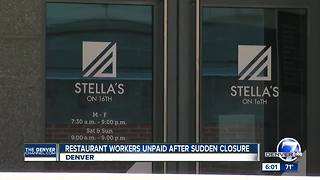 Stella's on 16th closes without notice and paychecks to workers - Video