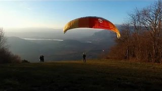 Sunset Paragliding Filmed by Drone Captures Stunning View - Video