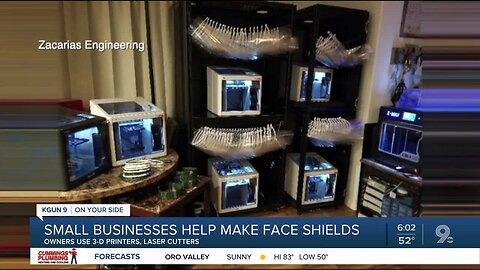 Small business owners make face shields using 3-D printers, laser cutters