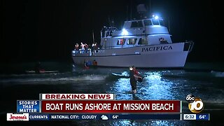 Passengers rescued after boat runs aground on Mission Beach